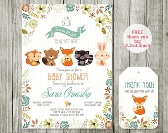 Woodland Baby Shower Invitation Printable - Woodland Baby Shower Invites with Fox, Moose, Rabbit, Raccoon, Bear - Gender Neutral, Boy