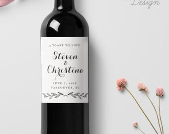 Custom Wedding Wine Labels, Personalized Wine Label, with Elegant Script Calligraphy, Wedding Wine Bottle Labels, Ship from the U.S., WL2