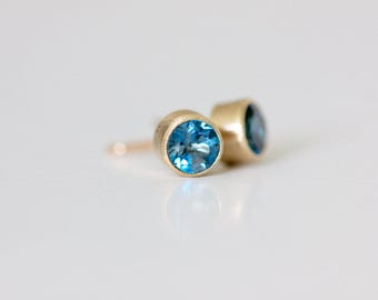London Blue Topaz Stud Earrings - Recycled 14k Gold Studs - Brushed Modern Earring - Blue Topaz Earring - Matte Finish Earring Stud