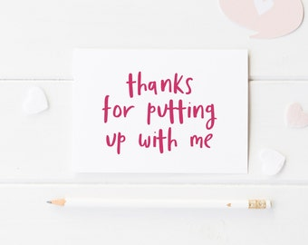 Thanks For Putting Up With Me, Funny Anniversary Card, Anniversary For Him, Anniversary Card Her, Anniversary Husband, Anniversary Wife