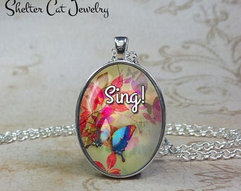 Sing! Butterfly Necklace - Watercolor - Oval Pendant or Key Ring - Handmade Wearable Photo Art Jewelry - Nature Art - Gift for her