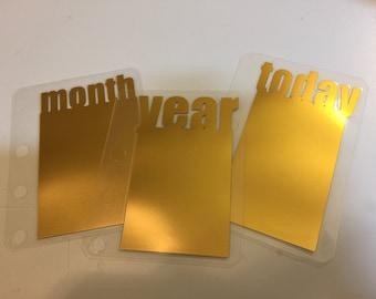 Today-Year-Month FOIL Page Markers | Gold - Rose Gold - Silver - Red - Blue