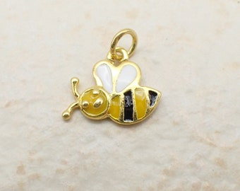 Honey Bee Charm Gold Plated Sterling Silver Dainty Insect Pendant Bumble Bee