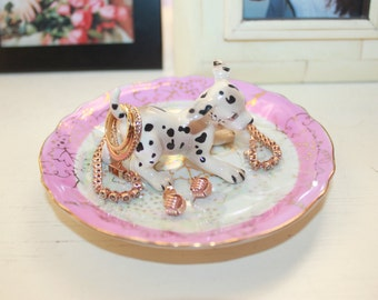 Cutest Spotted Dalmatian Iridescent Pink White Vineyard Ring Dish