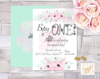Pink Poppy Birthday Invitation/Flowers/ Party/ Printable/ 5x7 Digital Download