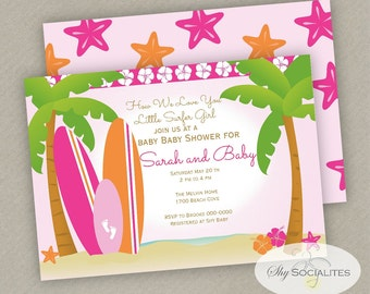 Sufer Baby Shower Invitation | Surfer Girl | Surfer Baby |Instant Download TEMPLATE | Editable Text PDF