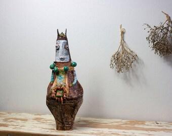 Rosa Bee - paper mache sculpture, folk art, bee sculpture, whimsical art, quirky art, home decor, puppetry, decorative art