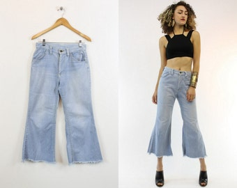 "70s Cropped Denim 28"" / 1970s Vintage High Waist Fitted Flares / Blue Jean Baby"