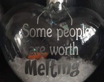 "Disneys Frozen Olaf Inspired ""Some People Are Worth Melting For"" Glass heart shaped Bauble"