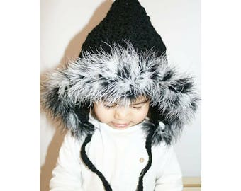 Black with Feathers | Pixie Hat