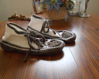 New HANDMADE Crocheted White and Brown Sneaker Slipper (Size 8.5)