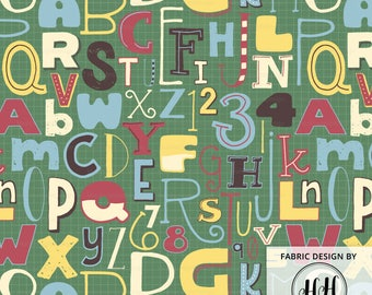 ABCs and 123s Fabric by the yard / Back to School Fabric / Alphabet Fabric Print / Cotton Quilting Fabric Print in Yards and Fat Quarters