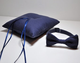 Simply Modern Ringbearer Set Pillow and Bowtie or Necktie Navy Blue Pindots