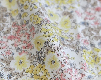 Flowers Cotton Fabric, Floral Fabric - Yellow - 59 Inches Wide - By the Yard 82206