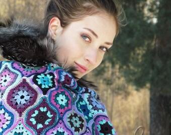 "Crochet shawl - boho scarf - big crochet kerchief - handmade ethno shawls - hand crocheted shawl - triangular stole ""Treasures of Maghreb"""