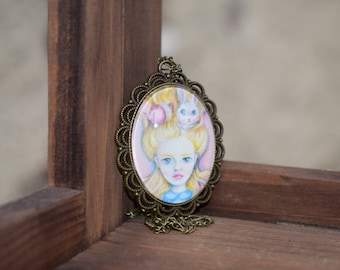 Alice in wonderland cameo fairytale necklace. Wearable art. Unique whimsical girl jewellery.