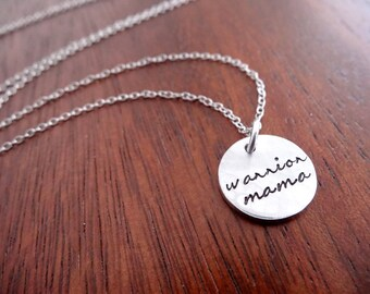 Warrior Mama Necklace - Empowering Mom Jewelry - Small Pendant