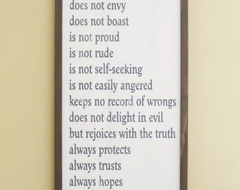 Love is Patient - Kind - Never Fails Framed Wood Sign 1 Corinthians 13 Wedding Farmhouse Style Vintage Look