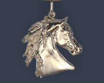 Horse head pendant, hand made in 925 sterling silver