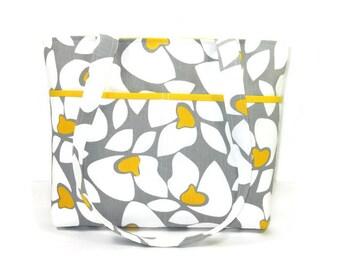 Double Strap Purse, Tote Bag, Gray White Shoulder Bag, Fabric Handbag, Key Clip, Yellow Gray White Floral Bag, Premier Prints Helen in Storm