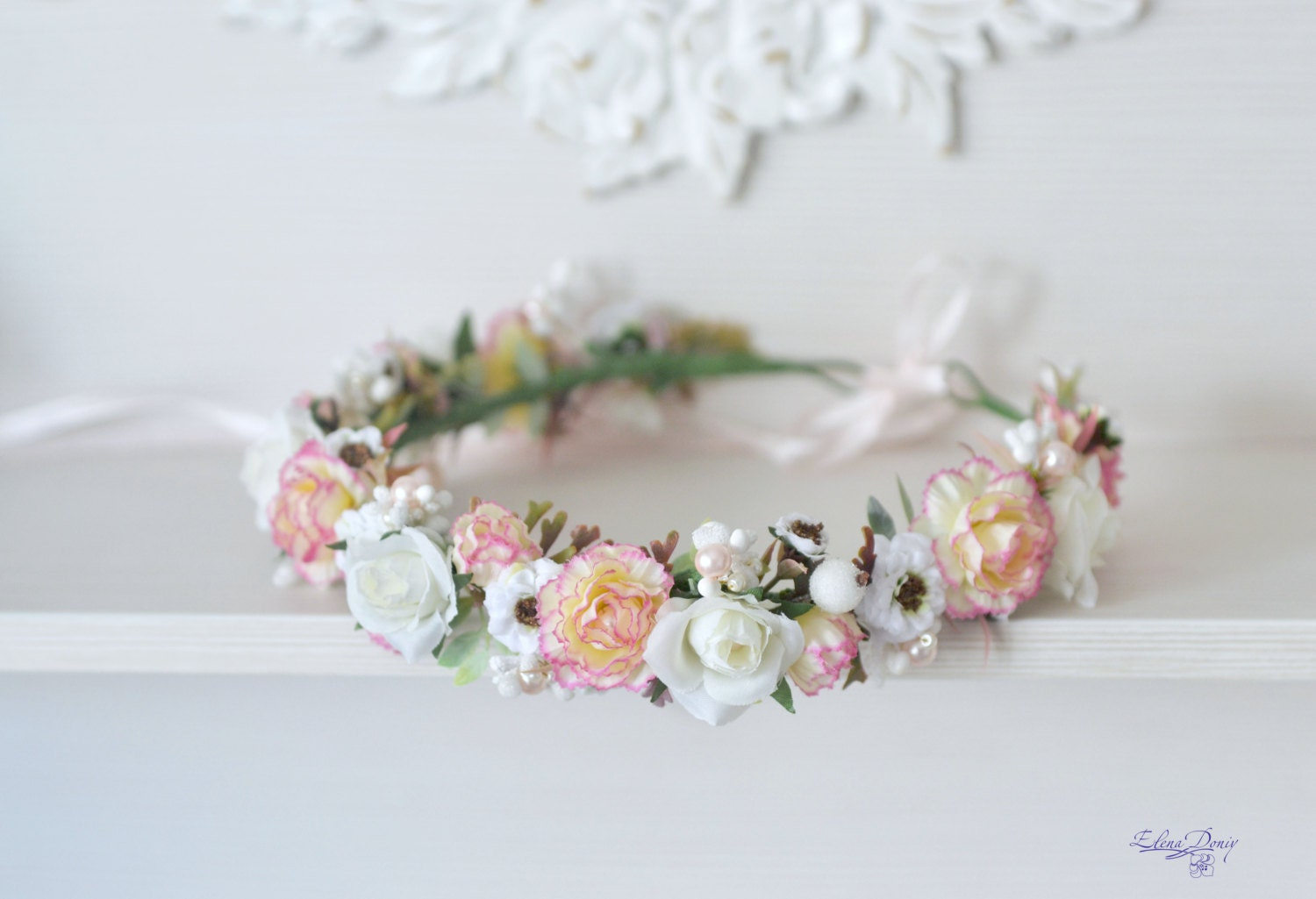 Peach pink carnation wedding flower crown white roses hair zoom izmirmasajfo Image collections