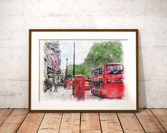 London Watercolor Painting, London Art Print, Telephone Booth Print, London Painting, Watercolor Painting, London Bus Print Instant Download