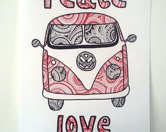 """Volkswagen van"" Illustration poster"