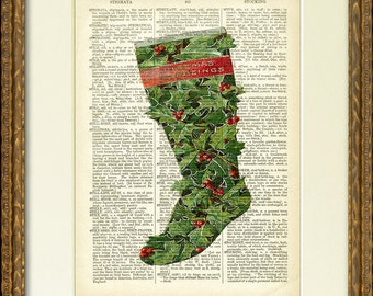 Dictionary Art Print - HOLIDAY CHRISTMAS STOCKING - a lovely old illustration on an antique dictionary page- charming Christmas wall decor