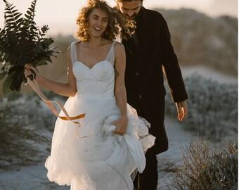 simple wedding dress, backless wedding dress, fairy wedding dress, boho beach wedding dress, tulle wedding dress straps, boho bridal gown