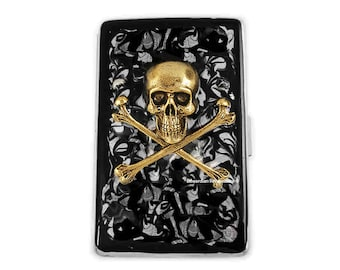 Metal Cigarette Case Gold Skull and Crossbones Inlaid in Hand Painted Enamel Metal Wallet with Custom Engraved and Personalized Options