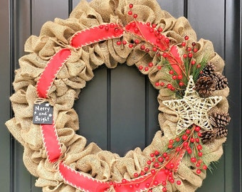 READY TO SHIP!!Burlap Christmas Wreath-Red Christmas Wreath-Winter Wreath-Holly Wreath-Holiday Wreath-Rustic Wreath-Front Door Wreath