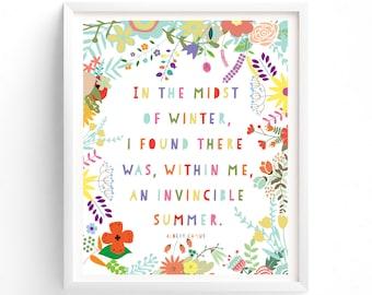 Art Prints, Printable Quotes, Wall Art Prints, Printable Art, Wall Art, Instant Download Print, In The Midst Of Winter Art
