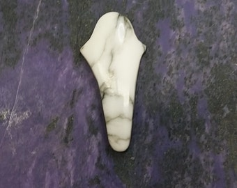 White Howlite Lily Cabochon/ backed