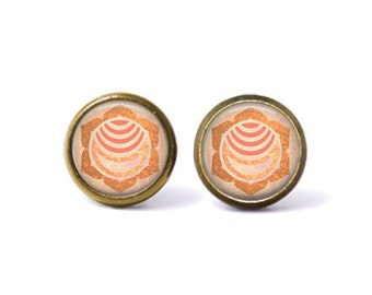 Sacral Chakra Svadhisthana Stud Earrings. Sacral Chakra Earrings, Svadhisthana Chakra, Chakra Jewelry, Boho Jewelry, Watercolor, Orange