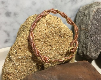 copper wire cuff bracelet, copper and brass  bracelet, copper unisex cuff bracelet, handmade copper cuff bracelet, artisans cuff bracelet