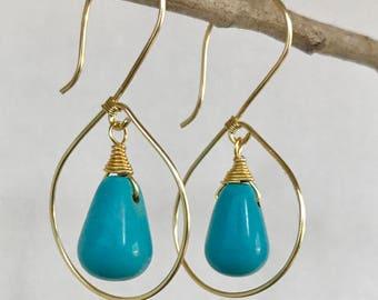 Gold turquoise earrings.Turquoise earrings.Dangle earrings.Handmade wire wrapped earrings.Gem stone earrings.Gift for her.Metalwork.Wirework