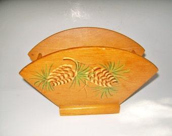 Vintage Napkin Holder Woodcroftery Pinecones Hand Painted Wood Napkin Holder