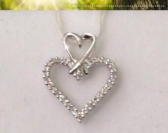 Two Heart Diamond Pendant in 14k White Gold Heart on Heart