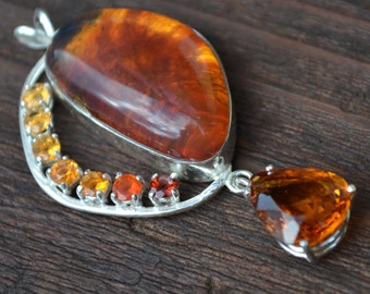 Amber Pendant with Citrine, Fire Opal and Garnet in Sterling Silver