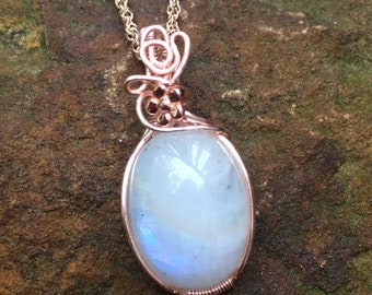 Moonstone Pendant, Rose Gold Colored Moonstone Pendant, Small Wire Wrapped Moonstone Pendant