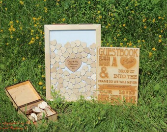 Wedding Guest Book Alternative Wedding Guest Book Rustic, Wedding Set Drop Box 3D Frame, Drop in Top Wooden Hearts, Shadow Box, Wedding Gift