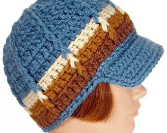 Blue Newsboy Beanie with Visor, Crochet Hat with Brim