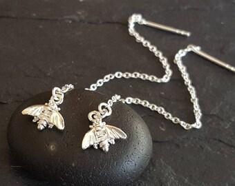 Sterling Silver bee threaders . Elegant ear thread earrings . Simple classy ear thread earrings silver bee earrings