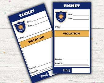 Pretend Play Police Tickets (Police Party). Printable. Instant Download.