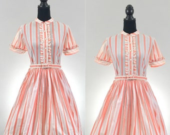 Candy Shop Vintage Dress, 1950's Dress, Vintage Cotton Dress, VLV Dress, Dapper Day Vintage Striped Dress, Disneybound Dress, Rockabilly Dre