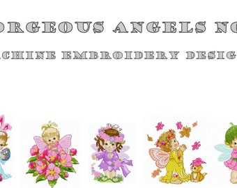 Machine Embroidery Designs - Gorgeous Angels No3  - Instant Digital Download - Pes / Jef / Hus / Dst / Exp / Vip / Vp3 / Xxx Formats