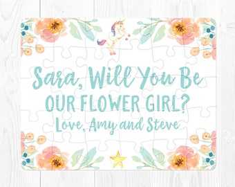 Flower Girl Puzzle Proposal Will You Be My Flower Girl Proposal Puzzle Flower Girl Proposal Card Mint Flower Girl Proposal Gift Peach Custom