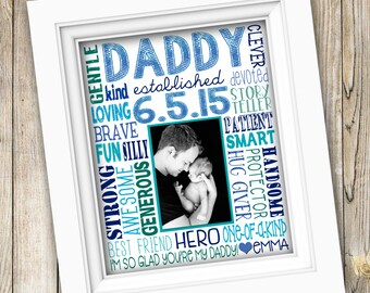 Father's Day Gift ~ First Time Dad Gift ~ Printable Father's Day Custom Photo Subway Art ~ Digital Image ~ First Father's Day Print Poster