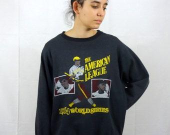 Vintage 80s Old School Sweater Sweat-shirt Base-ball American 1964