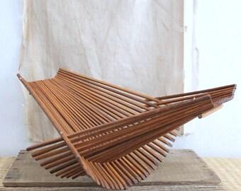 Vintage Folding Wood Storage Fruit Basket